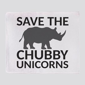 Save the Chubby Unicorns Throw Blanket