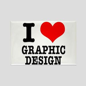 I Heart (Love) Graphic Design Rectangle Magnet