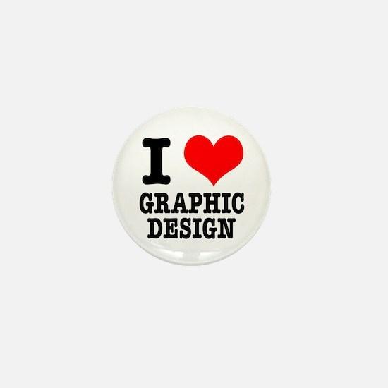 I Heart (Love) Graphic Design Mini Button