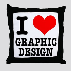 I Heart (Love) Graphic Design Throw Pillow