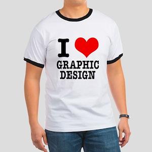 I Heart (Love) Graphic Design Ringer T