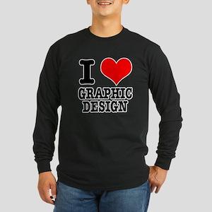 I Heart (Love) Graphic Design Long Sleeve Dark T-S