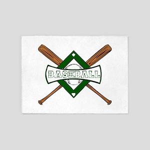 BASEBALL BAT CROSS -1- 5'x7'Area Rug