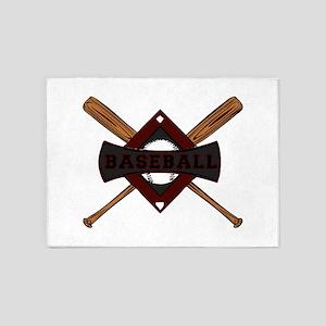 BASEBALL BAT CROSS -2- 5'x7'Area Rug