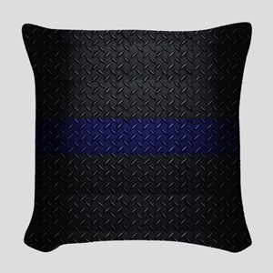 Police Thin Blue Line Woven Throw Pillow