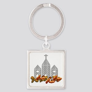 Religious Nuts Square Keychain