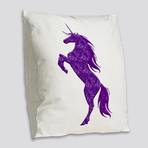 Purple Unicorn Burlap Throw Pillow