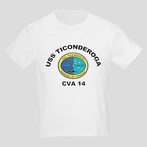 USS Ticonderoga CVA 14 Kids Light T-Shirt
