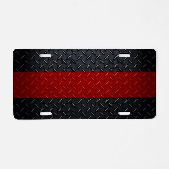 Diamond Plate Thin Red Line Aluminum License Plate