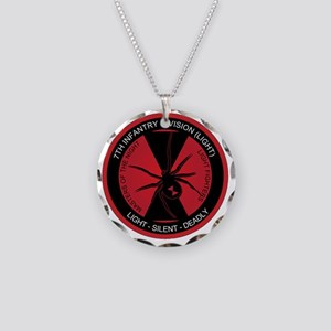 Black Widow 7th Infantry Div Necklace Circle Charm