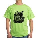 Tortoise Short-Hair Cat Green T-Shirt