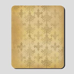 gold tone distressed damask pattern Mousepad