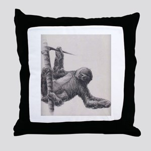 sloth drawing Throw Pillow