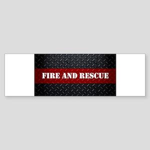 Fire and Rescue Diamond Plate Bumper Sticker