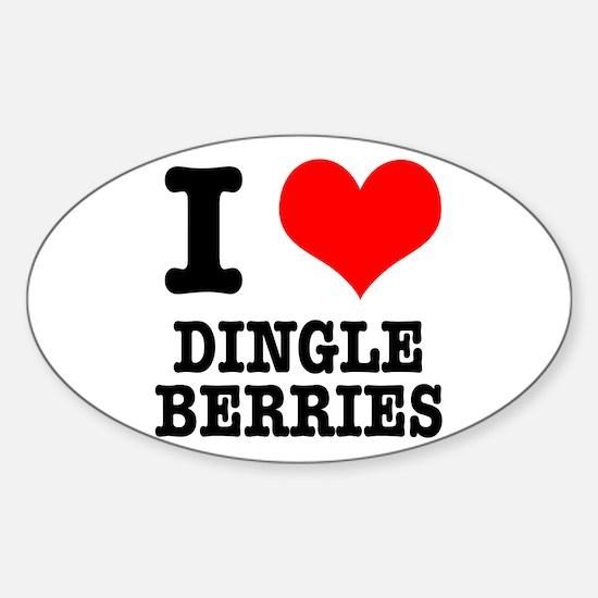 I Heart (Love) Dingleberries Oval Decal