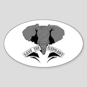 Save The Elephant Sticker (Oval)