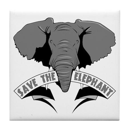 Save The Elephant Tile Coaster