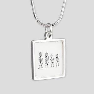 Super Family 2 Boys Silver Square Necklace