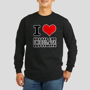I Heart (Love) Chocolate Long Sleeve Dark T-Shirt