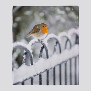 Robin in the Snow Throw Blanket