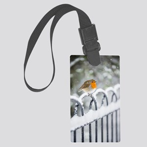 Robin in the Snow Large Luggage Tag
