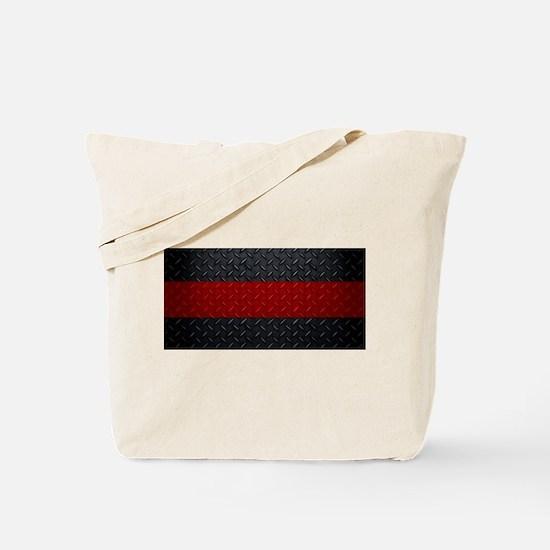 Diamond Plate Thin Red Line Tote Bag