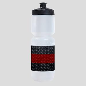 Diamond Plate Thin Red Line Sports Bottle