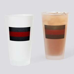 Diamond Plate Thin Red Line Drinking Glass
