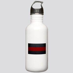 Diamond Plate Thin Red Line Water Bottle