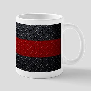 Diamond Plate Thin Red Line Mugs