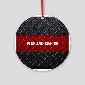 Fire and Rescue Diamond Plate Ornament (Round)