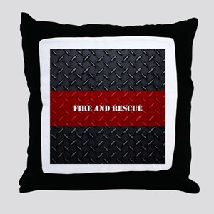 Fire and Rescue Diamond Plate Throw Pillow