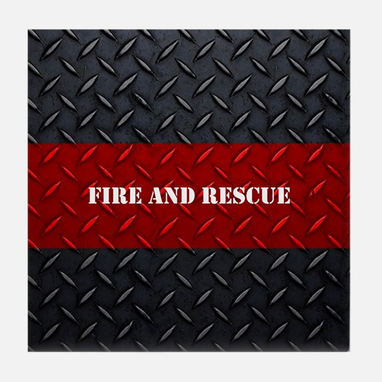 Fire and Rescue Diamond Plate Tile Coaster