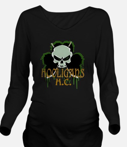 Skull Hockey Sticks Long Sleeve Maternity T-Shirt