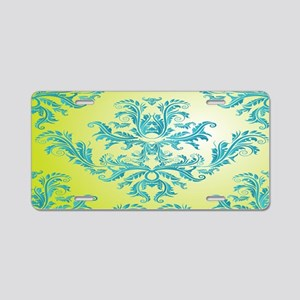 teal turquoise and lime gre Aluminum License Plate