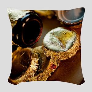Golden Beer Bottle Caps Woven Throw Pillow