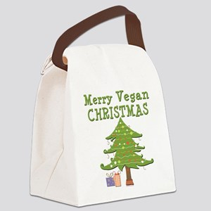 Merry Vegan Christmas Canvas Lunch Bag