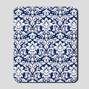 dark blue and white damask flourish Mousepad