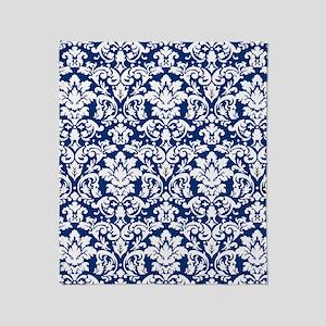 dark blue and white damask flourish Throw Blanket
