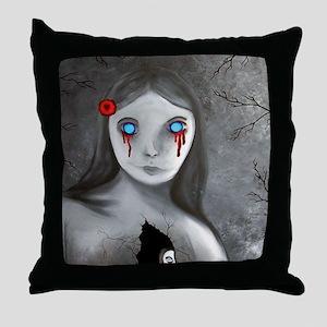 bleeding eyes empty soul gothic vinta Throw Pillow