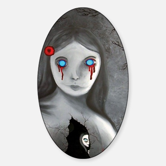 bleeding eyes empty soul gothic vin Sticker (Oval)