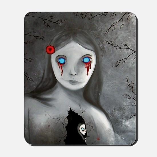 bleeding eyes empty soul gothic vintage  Mousepad