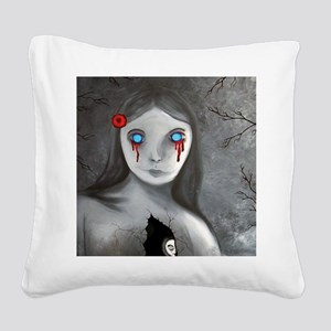 bleeding eyes empty soul goth Square Canvas Pillow