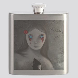 bleeding eyes empty soul gothic vintage art Flask
