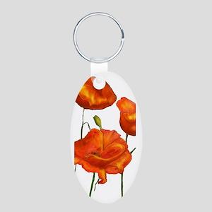 Poppies Aluminum Oval Keychain