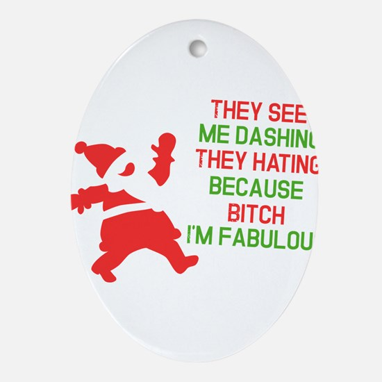 Dashing through the snow Ornament (Oval)