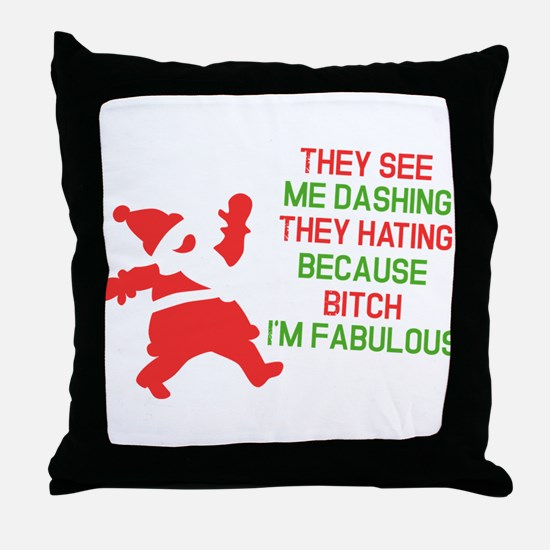 Dashing through the snow Throw Pillow