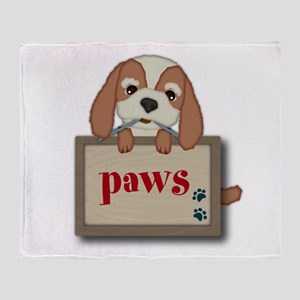 Customisable Cute Puppy Dog With Signboard Throw B