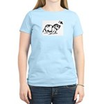 Women's Pink T-Shirt with Potbelly Pig & Butterfly