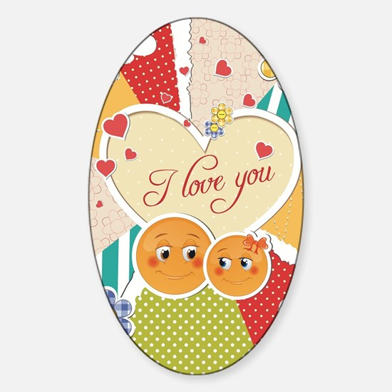 cute smiley couple i love you Sticker (Oval)